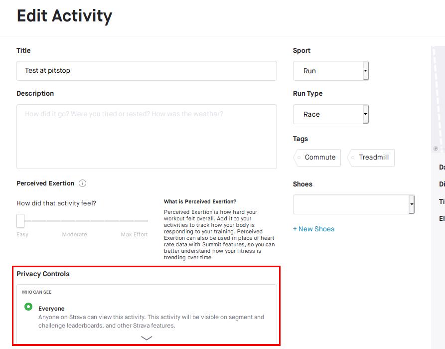 Strava: Specific activity privacy controls